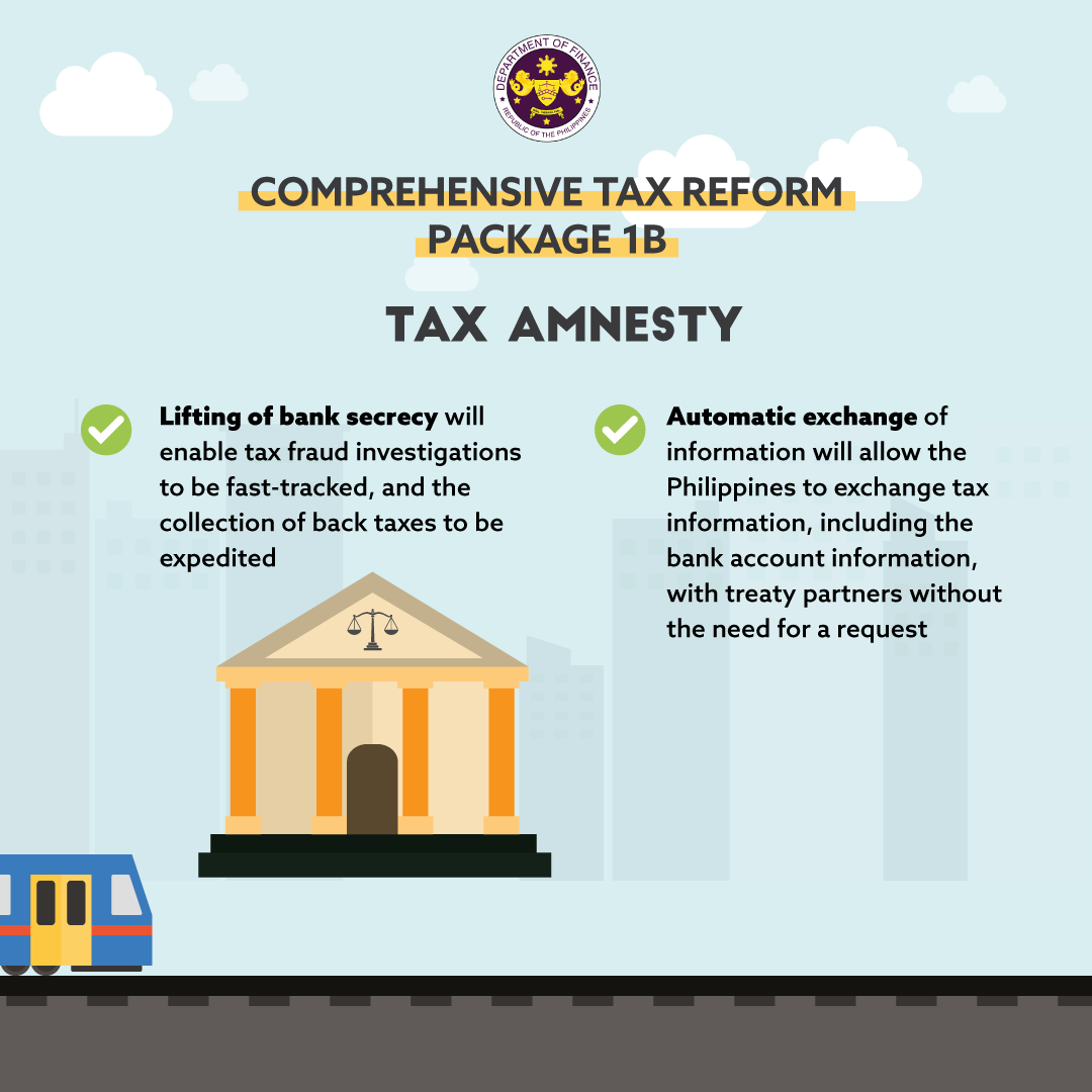 Benefits of Package 1B (Tax Amnesty) of the Comprehensive Tax Reform Program